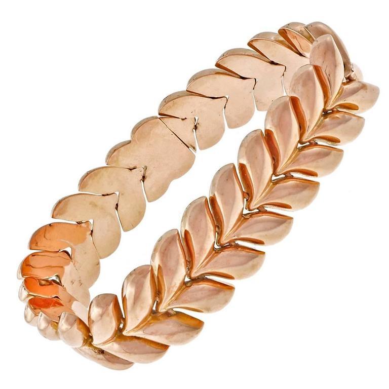 1960s Gold Hinged Link Bracelet