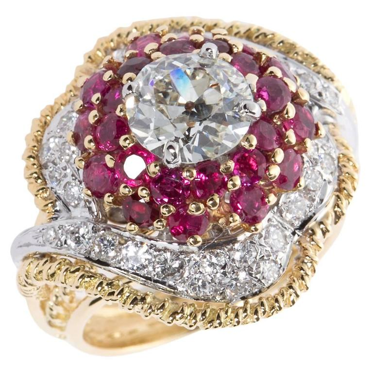 Chic 1960s Old European Cut Diamond Ruby Gold Cocktail Ring