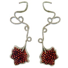Ambrosi Unique Diamond and Sapphire 18 Karat White Gold Earrings