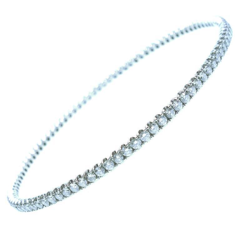 3 Carats of Diamonds White Gold Bangle Bracelet