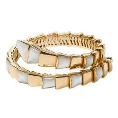Bulgari Yellow Gold Mother-of-Pearl Bangle Bracelet