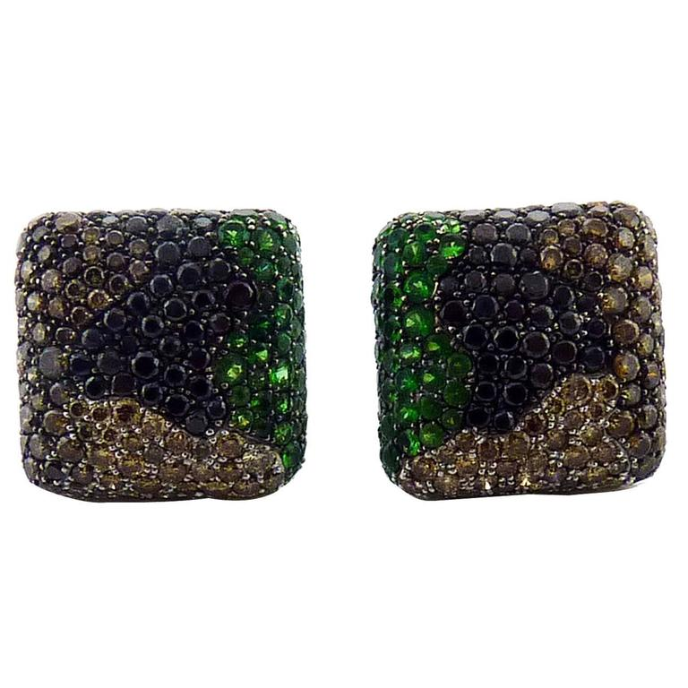 De Grisogono Tsavorite  & Diamond 18K Gold Earrings Retail $57,200