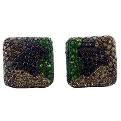 De Grisogono Tsavorite and Diamond 18 Karat Gold Earrings