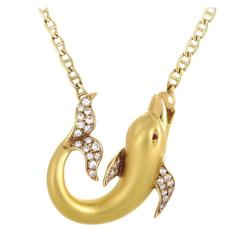 Carrera y Carrera Ruby Diamond Gold Dolphin Pendant Necklace