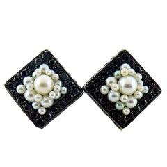 De Grisogono Black Diamond & Pearl Gold Earrings