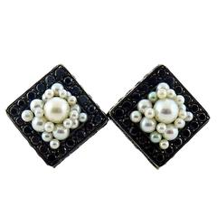 De Grisogono Black Diamond & Pearl Gold Earrings