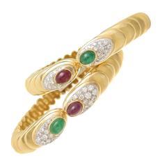 1980s Elegant Gem Set Gold Bangle Bracelets