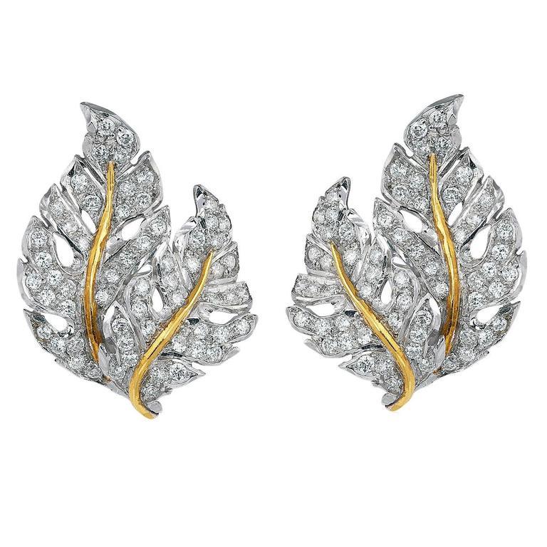 Buccellati Diamond Gold Leaf Earrings