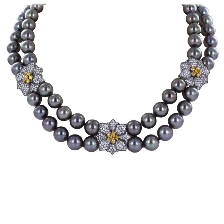 Double Row Tahitian Pearl Diamond Gold Necklace For Sale