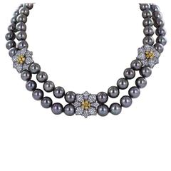 Double Row Tahitian Pearl Diamond Gold Necklace