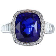 5.85 Carat Sapphire Diamond Platinum Solitaire Ring