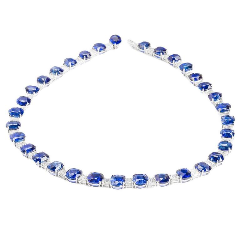 Platinum gem Ceylon sapphire  consisting of 33 cushion cut Sapphires weighing approximately 116.35 ctw. alternating with 33 Square cut diamonds weighing approximately 24.27 ctw.  flexible necklace.