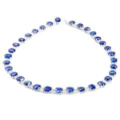 116.35 Carats Ceylon Sapphires 24.27 Carats Diamonds Flexible Platinum Necklace