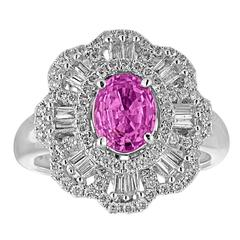 Certified 1.27 Carat Oval Pink Sapphire Diamond Gold Ring