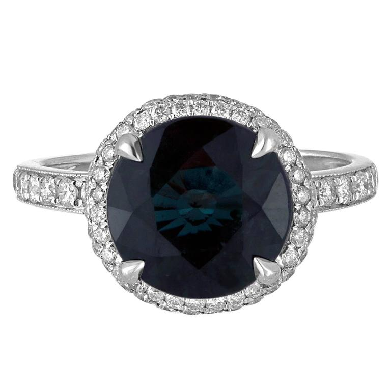 Certified No Heat 4.98 Carats Round Greenish Blue Sapphire Diamond Ring