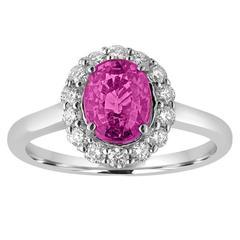 Certified 2.13 Carat Oval Purple Sapphire Diamond Halo Ring