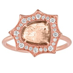 0.85 Carats Diamond Slice Star Halo Gold Ring