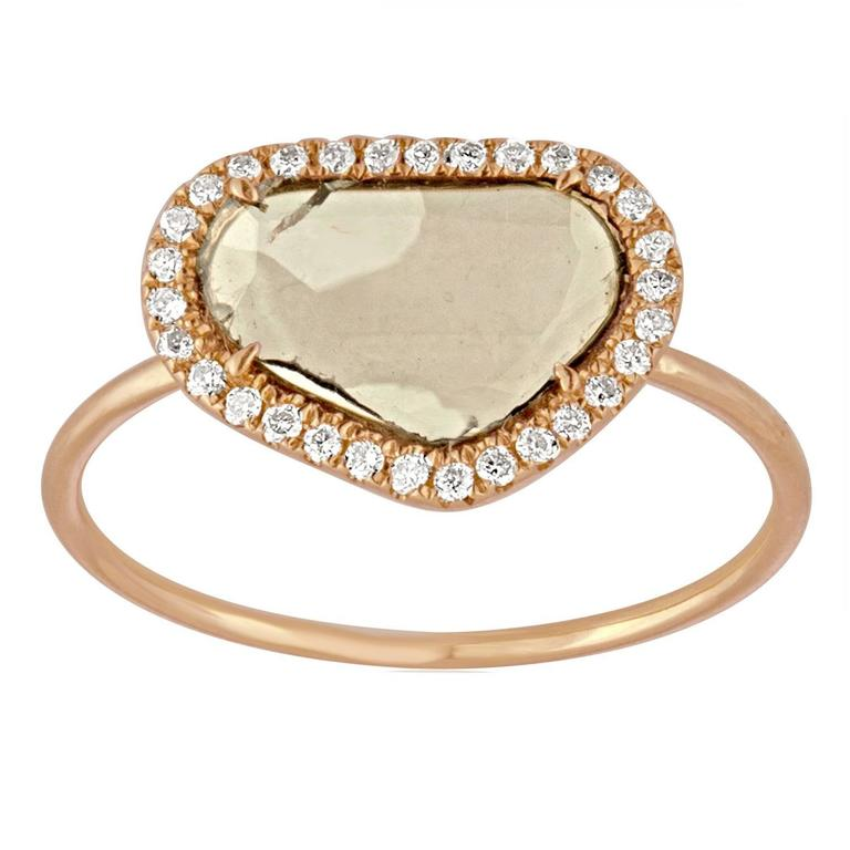 0.40 Carats Diamond Slice Halo Gold Ring