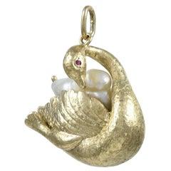 Pearl Ruby Gold Swan Charm