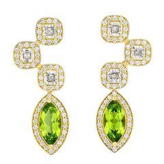 Yellow Gold Pave Set White Diamond Asscher Green Peridot Drop Earrings