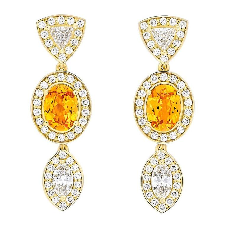 Yellow Gold Pave Set White Diamond Marquise Trillion Orange Garnets Earrings For Sale
