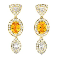 Yellow Gold Pave Set White Diamond Marquise Trillion Orange Garnets Earrings