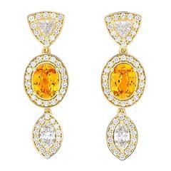 Yellow Gold Pave Set White Diamond Marquise Trillion Orange Garnets Earrings