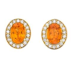 Yellow Gold Pave Set White Diamond Brilliant Orange Garnet Stud Earrings