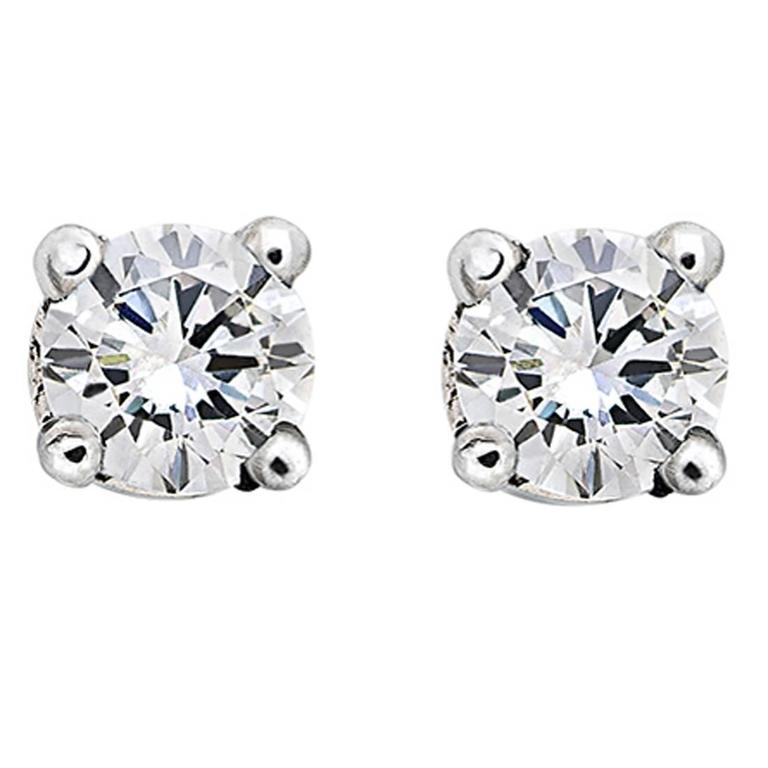 18 Karat White Gold Round Brilliant White Diamond Stud Earrings