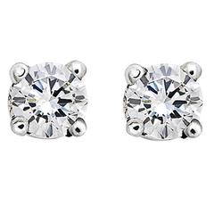0.20 Carat Brilliant Cut White Diamonds 18k White Gold Stud Earrings