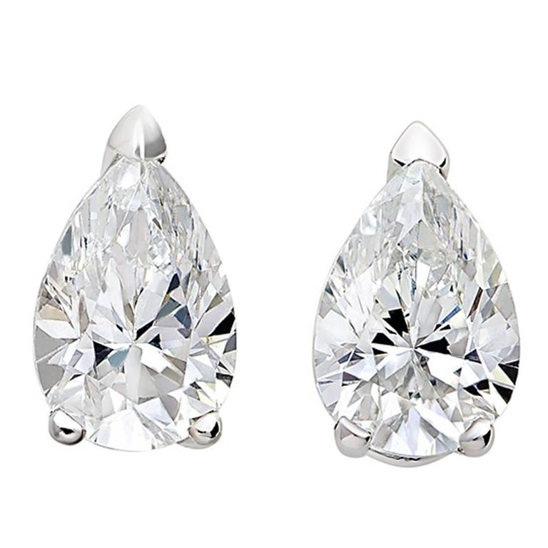 18 Karat White Gold Pear White Diamond Stud Earrings 1