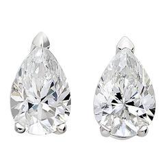 18 Karat White Gold Pear White Diamond Stud Earrings