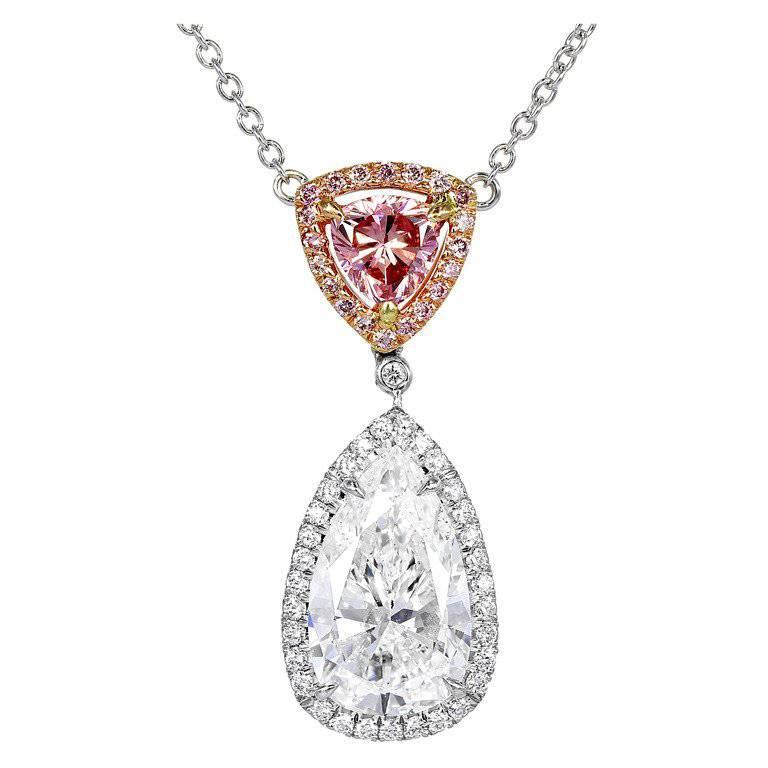 Colorless and Natural Pink Diamond Pendant