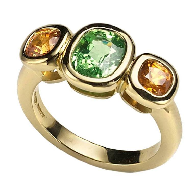 Tsavorite Mandarin Garnet Gold Three Stone Ring