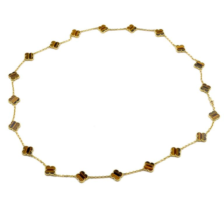 Van Cleef & Arpels Alhambra 20 Motif Tiger's Eye Gold Necklace