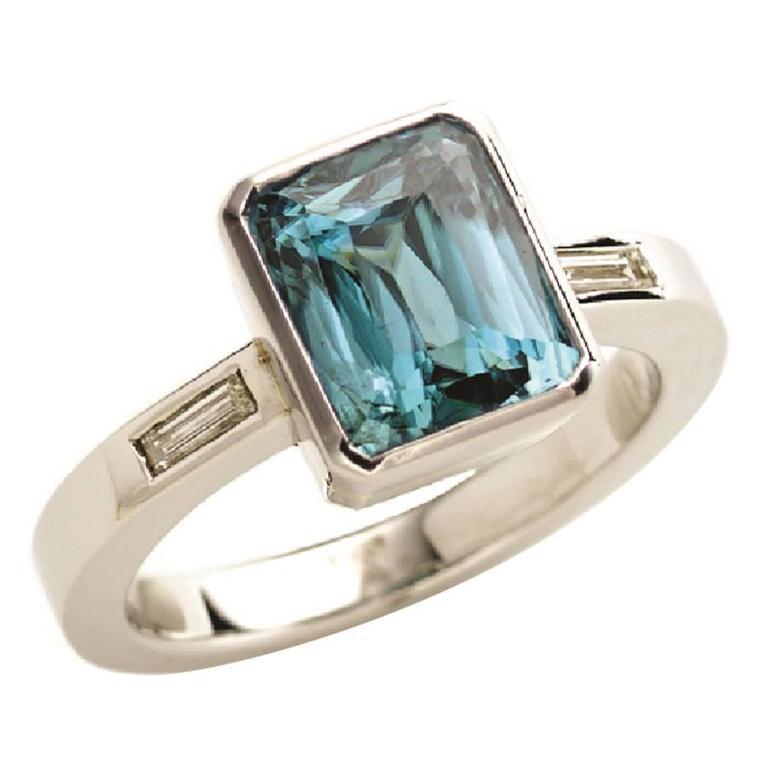 Blue Zircon Diamond Gold Ring