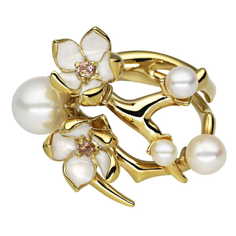 Shaun Leane Diamond and Pearl Gold Vermeil Cherry Blossom Ring