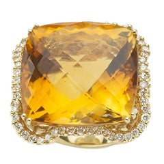 Pineapple-Cut Citrine, Diamond  and 18ct Gold Dress Ring