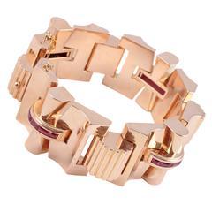 1940s Retro Ruby Rose Gold Bracelet
