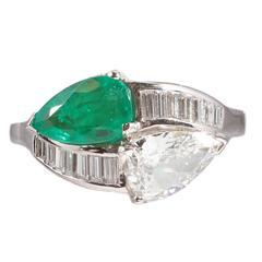 1950s Emerald Diamond Platinum Bypass Ring