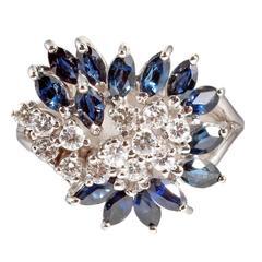 Mid Century Sapphire Diamond Gold Ring