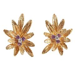 1960s Tiffany & Co. Amethyst Diamond Gold Earrings