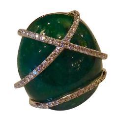 Emerald Cabochon Diamond Gold Dome Ring