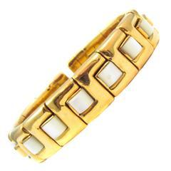 Mother of Pearl Gold Bangle Bracelet