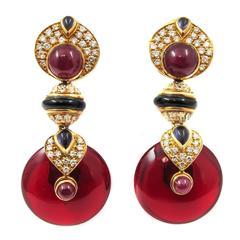 Ruby Sapphire Onyx Diamond Gold Earrings