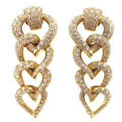 Mellerio  Paris Diamond Entwined Heart Yellow Gold Earrings