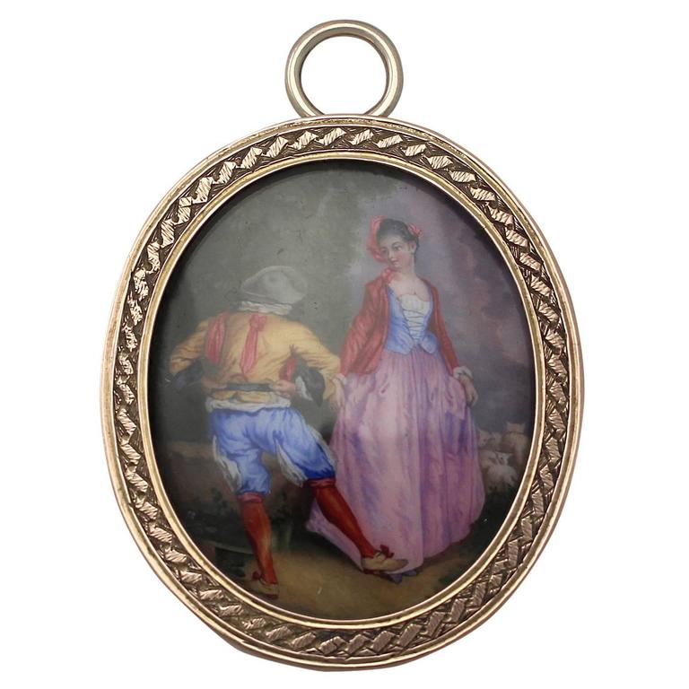 9 Karat Yellow Gold Miniature Portrait Pendant, Antique Victorian 1