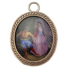 9 Karat Yellow Gold Miniature Portrait Pendant, Antique Victorian