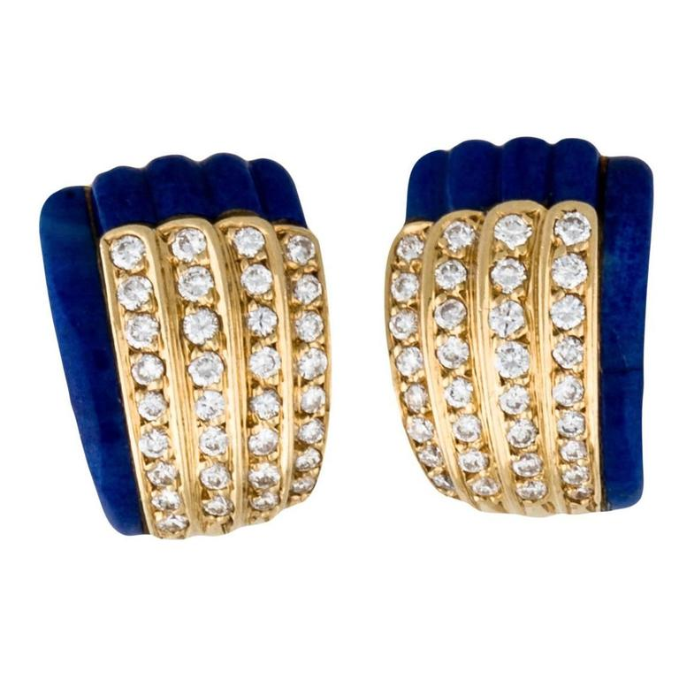 Van Cleef & Arpels Lapis Lazuli Diamond Gold Clip-On Earrings For Sale