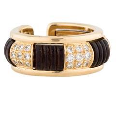 Boucheron Diamond Wood Gold Two Part Ring